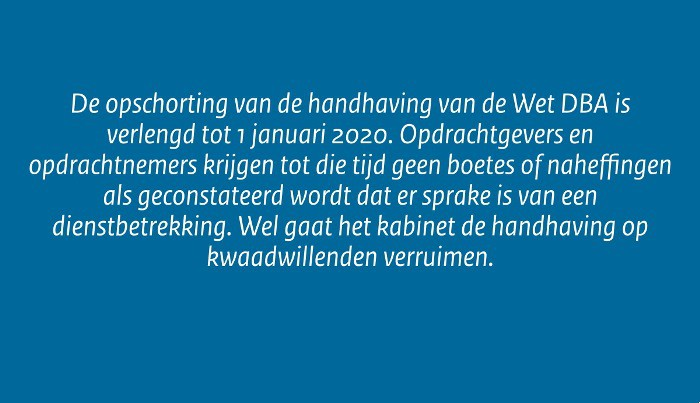 Opschorting handhaving Wet DBA verlengd tot 1 januari 2020