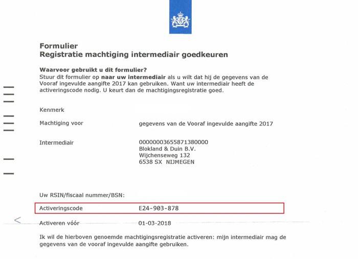 Registratie machtiging vooraf ingevulde aangifte (VIA) 2017